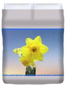 Yellow Daffodil On Canvas Duvet Cover