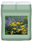 Yellow Daisies And Purple Sage Duvet Cover