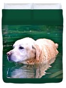 Yellow Dog In Pond Duvet Cover