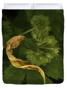 Yellow Drying Leaf With Seeds Duvet Cover