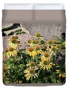 Yellow Echinacea, Straw Flowers Gray Stone Background 2 9132017  Duvet Cover