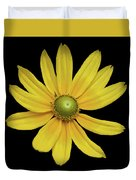 Yellow Eyed Daisy In Black Duvet Cover