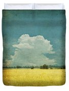 Yellow Field On Old Grunge Paper Duvet Cover by Setsiri Silapasuwanchai