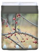 Yellow Finch In Crab Apple Tree Duvet Cover