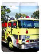Yellow Fire Truck Duvet Cover