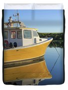 Yellow Fishing Boat Early Morning Duvet Cover