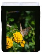 Yellow Flower Brown Fly Duvet Cover