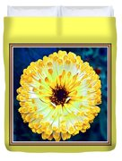 Yellow Flower H B With Decorative Ornate Printed Frame Duvet Cover
