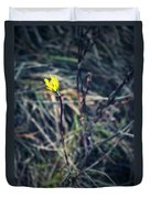 Yellow Flower In Dry Autumn Grass Duvet Cover