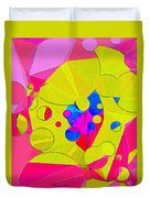 Yellow Flower In Pink Field 008 Duvet Cover