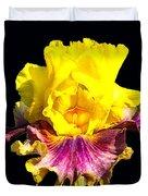Yellow Flower On Black Duvet Cover