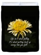 Yellow Flower With Inspirational Text Duvet Cover