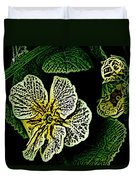 Yellow Flower Woodcut Duvet Cover