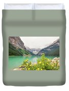 Yellow Flowers At Lake Louise Duvet Cover