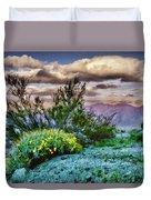Yellow Flowers In The Desert Duvet Cover