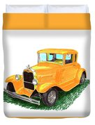 1932 Yellow Ford Hot Rod Coupe Duvet Cover