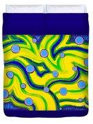 Yellow Green Blue Swirls Duvet Cover