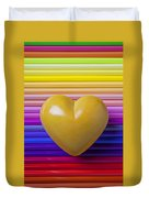 Yellow Heart On Row Of Colored Pencils Duvet Cover