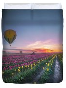 Yellow Hot Air Balloon Over Tulip Field In The Morning Tranquili Duvet Cover