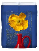 Yellow Iceland Poppy Red Pitcher Duvet Cover