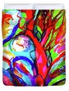 Yellow Iris Abstract Duvet Cover