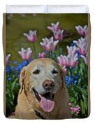 Yellow Lab And Tulips Duvet Cover