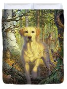 Yellow Lab In Fall Duvet Cover