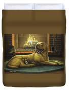 Yellow Lab With Kitten Duvet Cover
