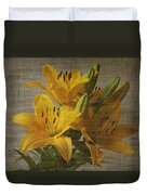 Yellow Lilies With Old Canvas Texture Background Duvet Cover