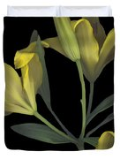 Yellow Lily On Black Duvet Cover