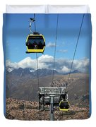 Yellow Line Cable Cars And Andes Mountains Bolivia Duvet Cover