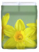 Yellow Mini Narcissus On Green 2 Duvet Cover