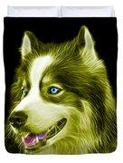 Yellow Modern Siberian Husky Dog Art - 6024 - Bb Duvet Cover