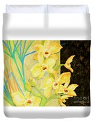 Yellow Orchids With Black Screen Duvet Cover