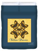 Yellow Pansy Butterfly Wheel Duvet Cover
