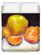Yellow Pear With Tangerine Slices Grace Venditti Montreal Art Duvet Cover