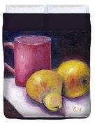 Yellow Pears And Mug Stll Life Grace Venditti  Duvet Cover