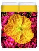 Yellow Poppy And Kalanchoe Flowers Duvet Cover