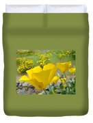 Yellow Poppy Flower Meadow Landscape Art Prints Baslee Troutman Duvet Cover