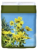 Yellow Posies Gazing At The Sky  Duvet Cover