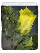 Yellow Prickly Pear Cactus Bloom Duvet Cover