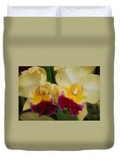 Yellow Purple Orchids Duvet Cover