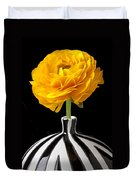Yellow Ranunculus In Striped Vase Duvet Cover