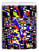 Yellow Red Blue Black And White Abstract Duvet Cover