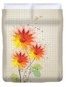 Yellow Red Floral Illustration Duvet Cover