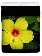 Yellow Red Hibiscus Duvet Cover