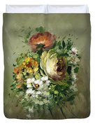 Yellow Rose And White Blossoms Duvet Cover
