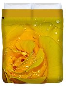 Yellow Rose With Droplets By Kaye Menner Duvet Cover
