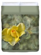 Yellow Rose With Old Marbel Texture Background Duvet Cover