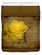 Yellow Rose With Old Notes Paper On The Background Duvet Cover